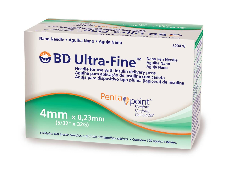 Agulha 4mm Nano PentaPoint Ultra Fine BD Caixa com 100 Unidades