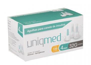 Agulhas para caneta de insulina Uniqmed 4mm Caixa com 100 unidades