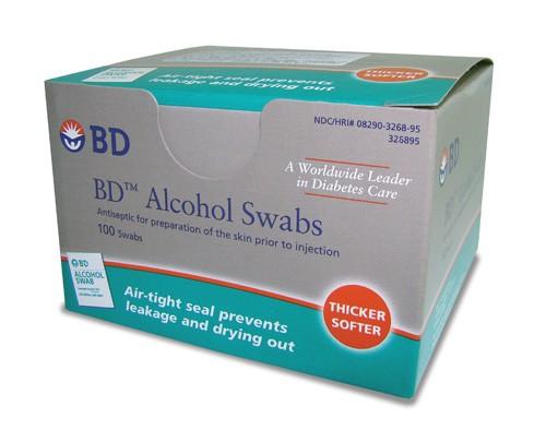Álcool Swabs BD Almofadas para Assepsia Caixa com 100 unidades