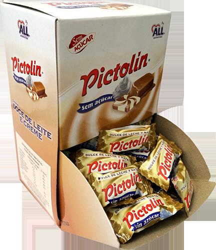 Bala Pictolin Doce de Leite e Creme Sem Açúcar Display com 98 Unidades