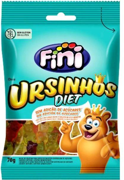 Balas de Gelatina Ursinhos Zero Açúcar Fini 70g