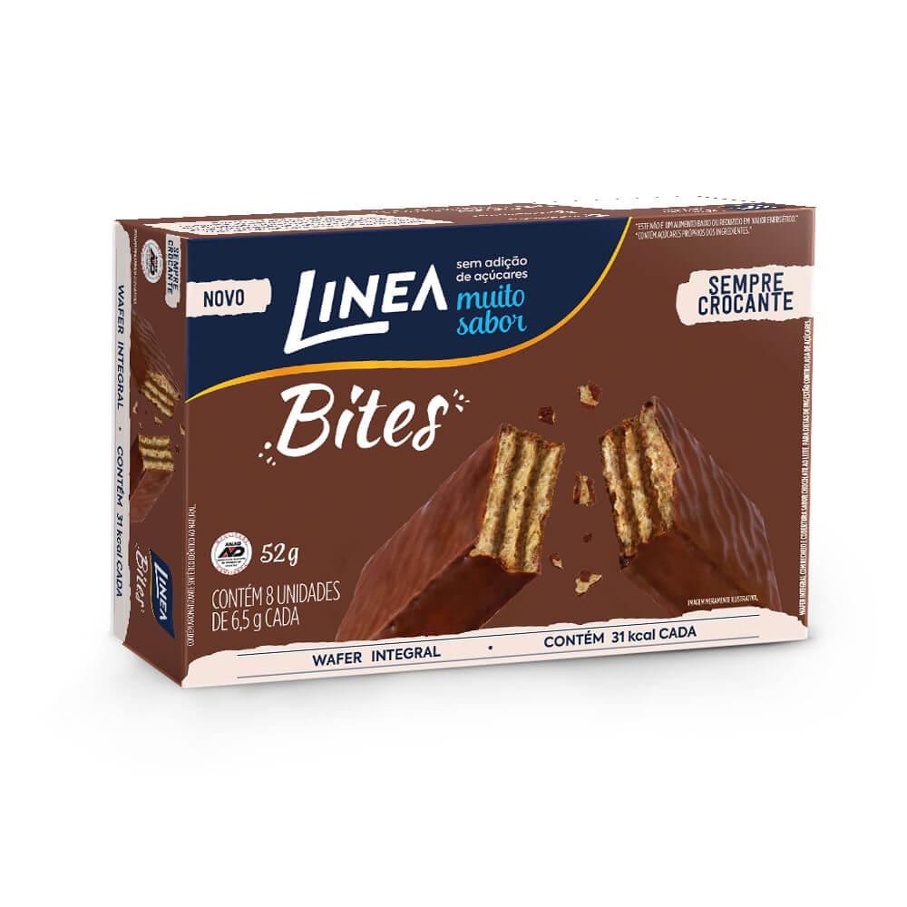 Mini Wafer Chocolate ao Leite Sem Adição de Açúcar Bites Linea 52g