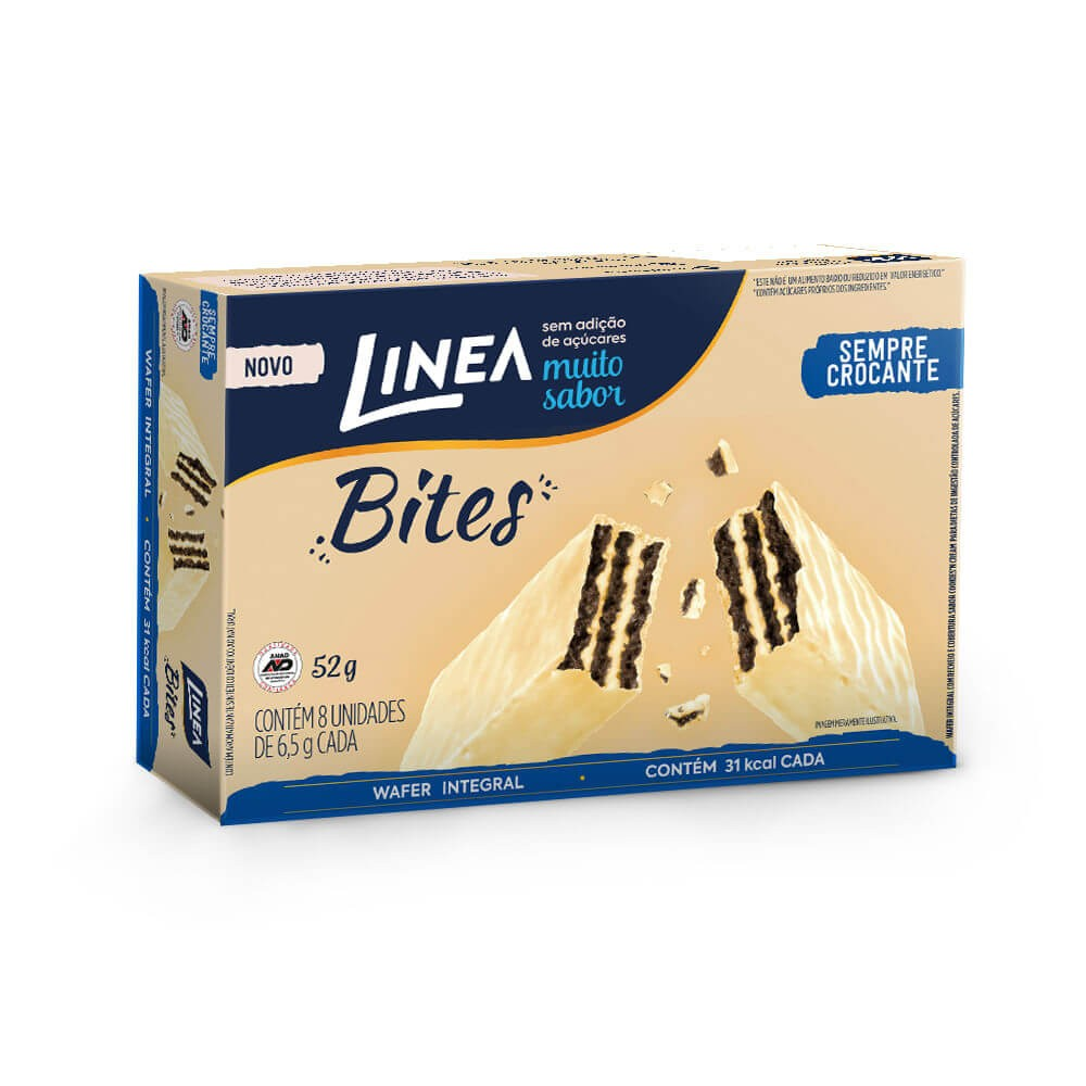 Mini Wafer Chocolate Branco Cookies'n Cream Sem Adição de Açúcar Bites Linea 52g