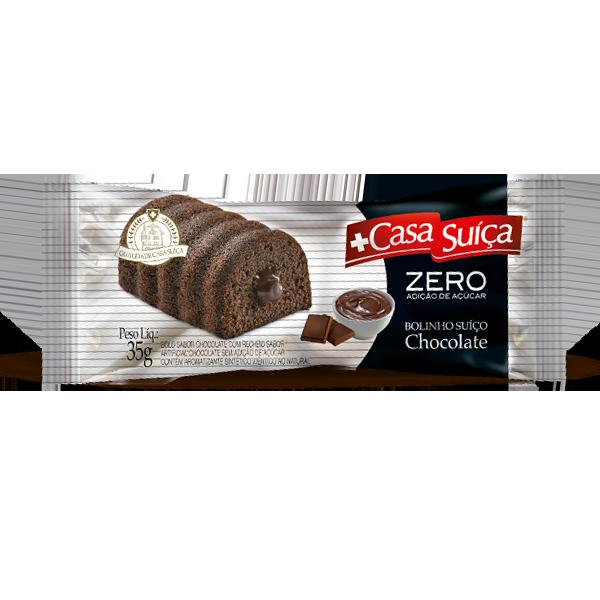 Bolinho Zero Adição de Açúcar Chocolate Recheado com Chocolate Casa Suíça 35g