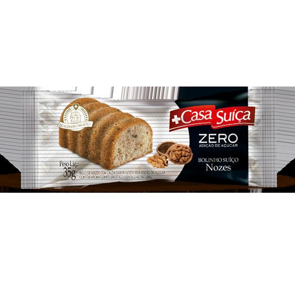 Bolinho Zero Adição de Açúcar Nozes com Calda sabor Nozes Casa Suíça 35g