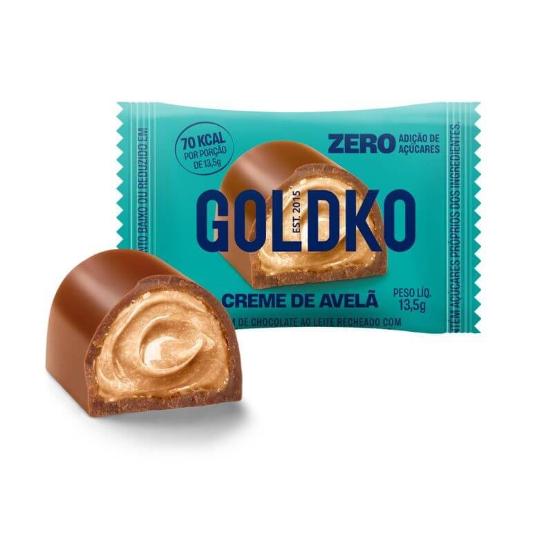 Bombom Recheado Zero Adição de Açúcar Creme de Avelã GoldKo 13,5g