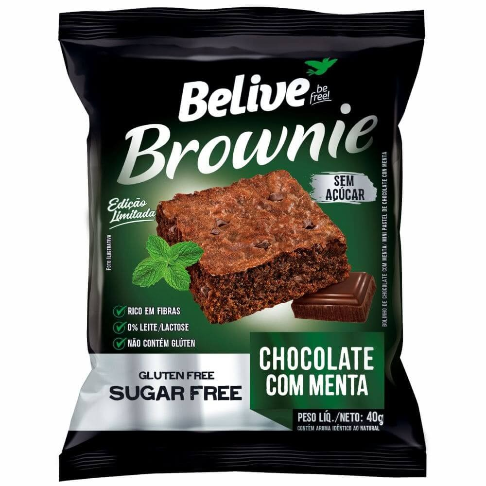 Brownie Sem Açúcar Chocolate com Menta Belive 40g