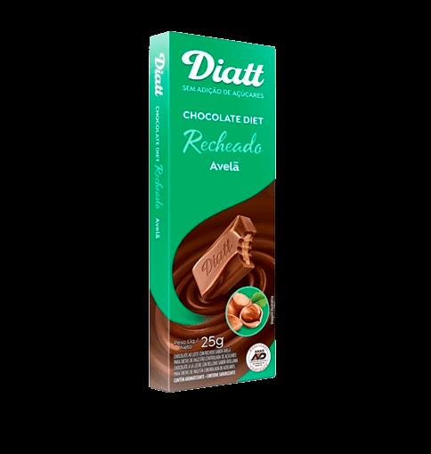 Chocolate Recheado Sem Adição de Açúcar Ao Leite com Avelã Diatt 25g