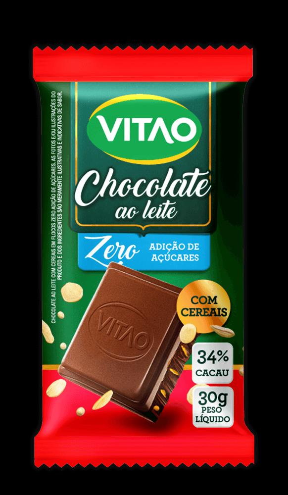 Chocolate ao Leite Zero Adição de Açúcar com Cereais Vitao 30g