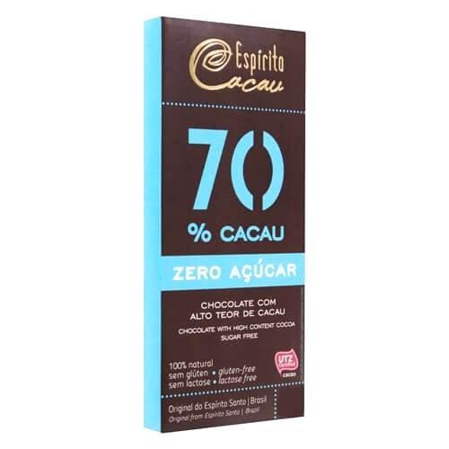 Chocolate Sem Adição de Açúcar 70% Cacau Vegano Espírito Cacau 80g