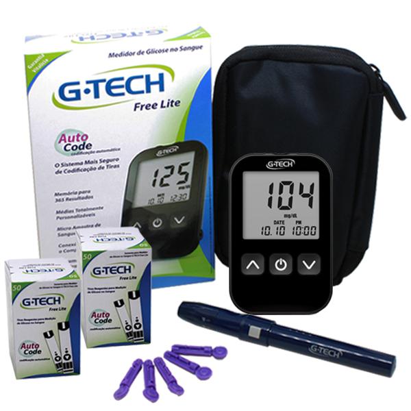 Compre 2 caixas de tiras (50 unidades) e  ganhe o Medidor de Glicose G-Tech Lite