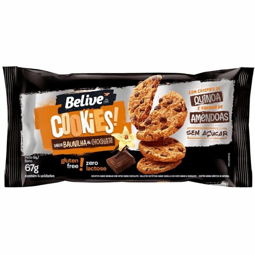 Cookies Sem Açúcar Baunilha e Chocolate Belive 67g