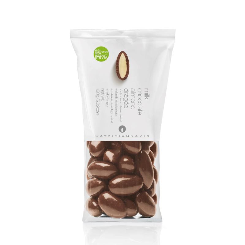 Drageado de Chocolate ao Leite Sem Adição de Açúcar com Amêndoa Hatziyiannakis 150g