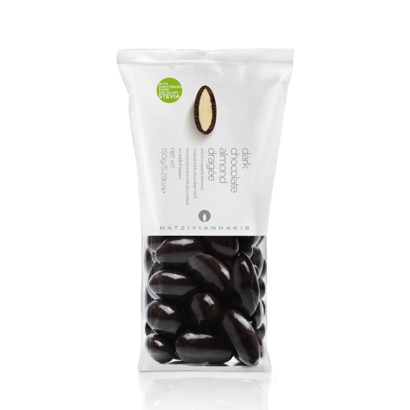 Drageado de Chocolate Meio Amargo Sem Adição de Açúcar com Amêndoa Hatziyiannakis 150g