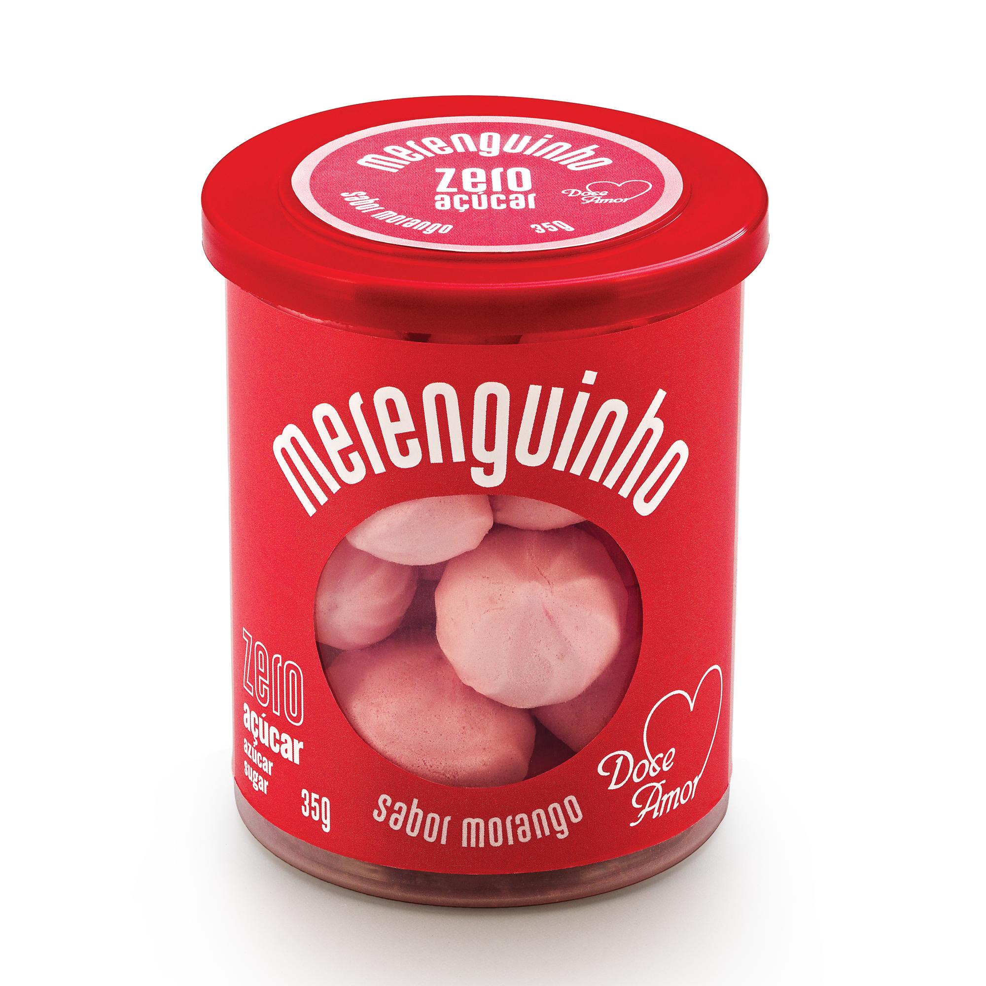Merenguinho Suspiro Zero Açúcar Morango Doce Amor 35g