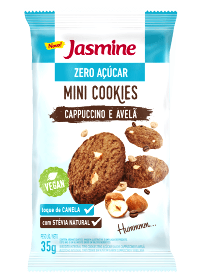 Mini Cookies Zero Açúcar Cappuccino e Avelã Jasmine 35g