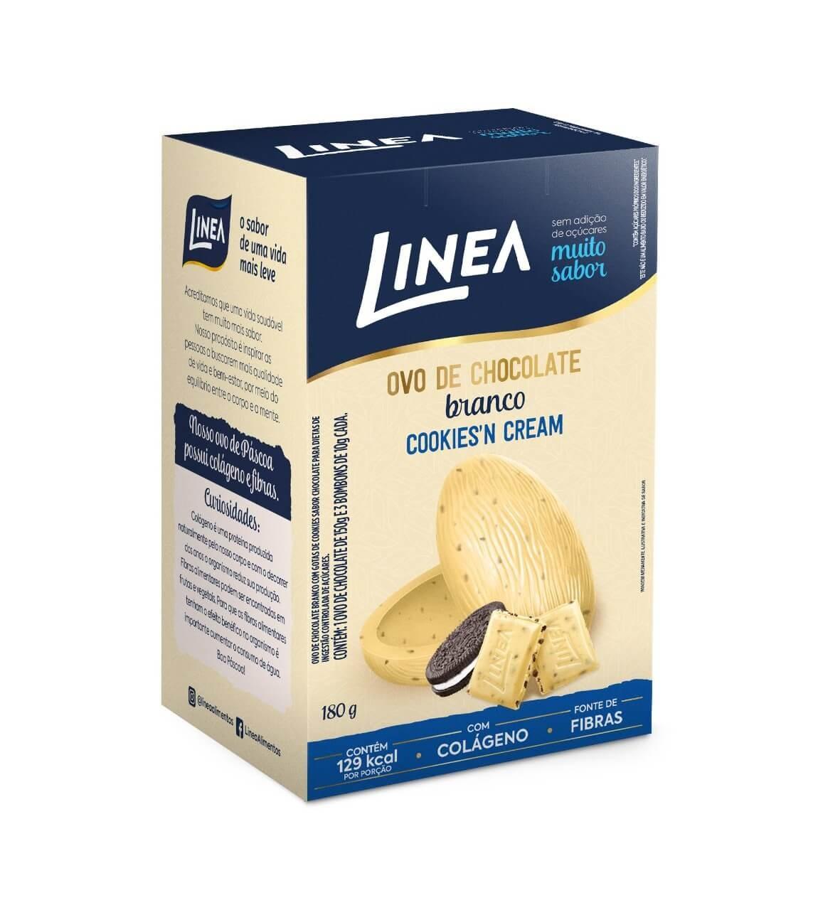 Ovo de Páscoa Sem Adição de Açúcar Chocolate Branco Cookies'n Cream Linea 180g