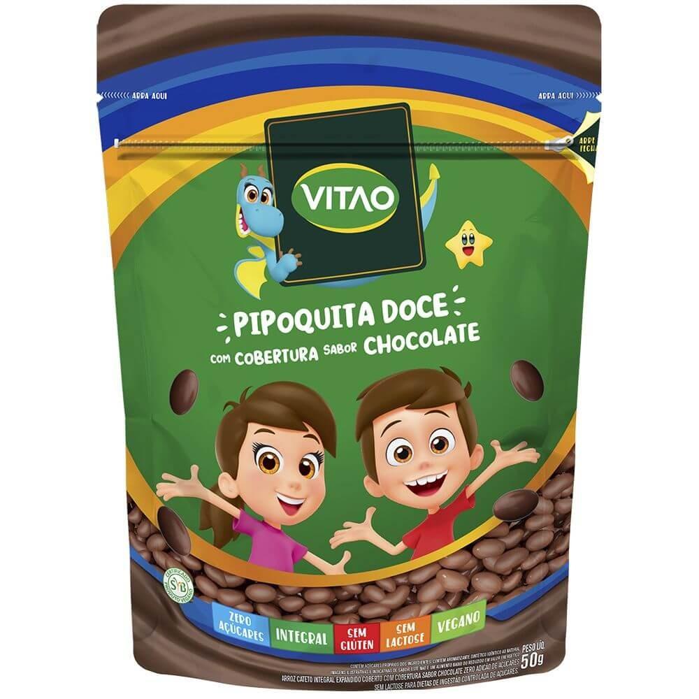 Pipoca Doce com Cobertura de Chocolate Zero Açúcar Vegano Vitao Kids 50g