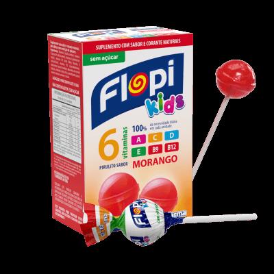 Pirulito Sem Açúcar Morango Flopi Kids 50g