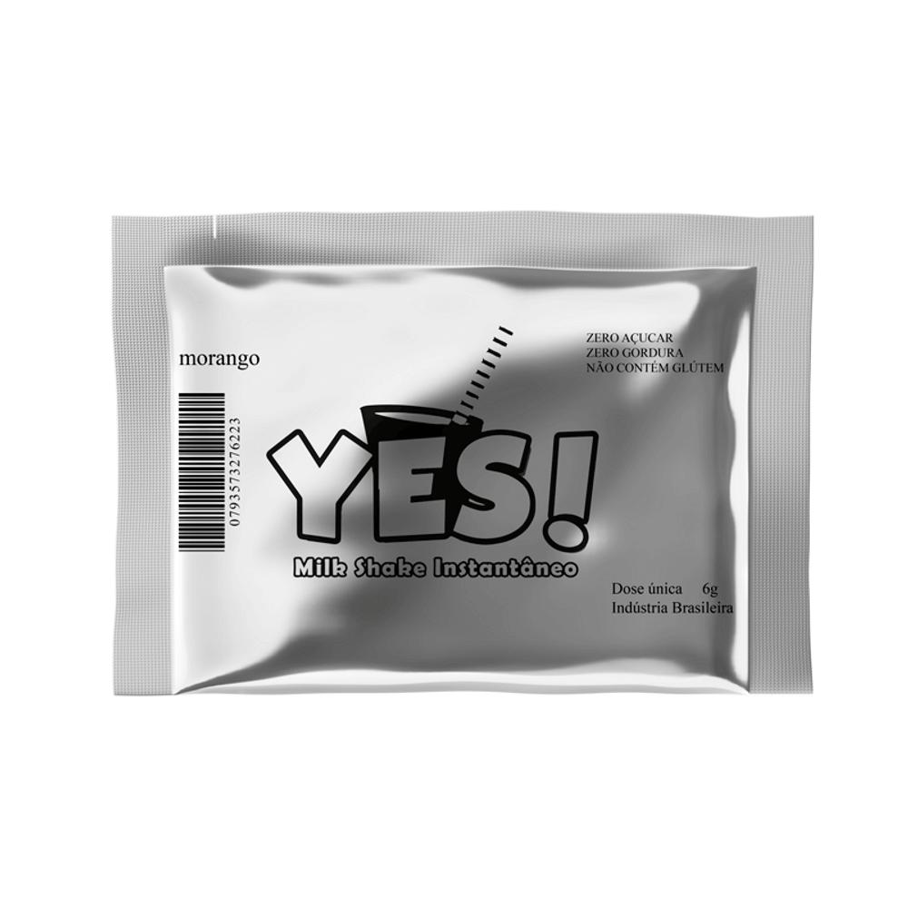 Pó para Milk Shake Zero Açúcar Instantâneo Morango Yes 6g
