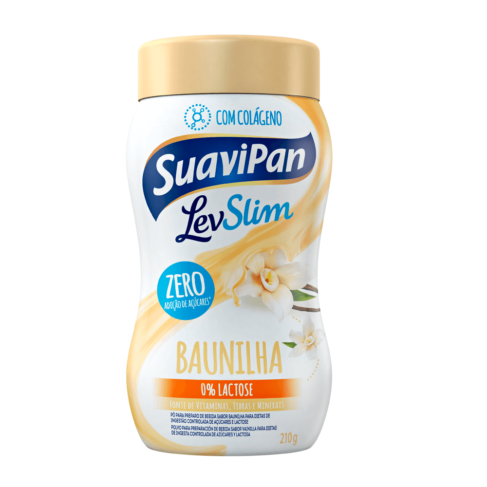 Pó para Preparo de Bebida Sabor Baunilha Zero Adição de Açúcares Levslim Suavipan 210g