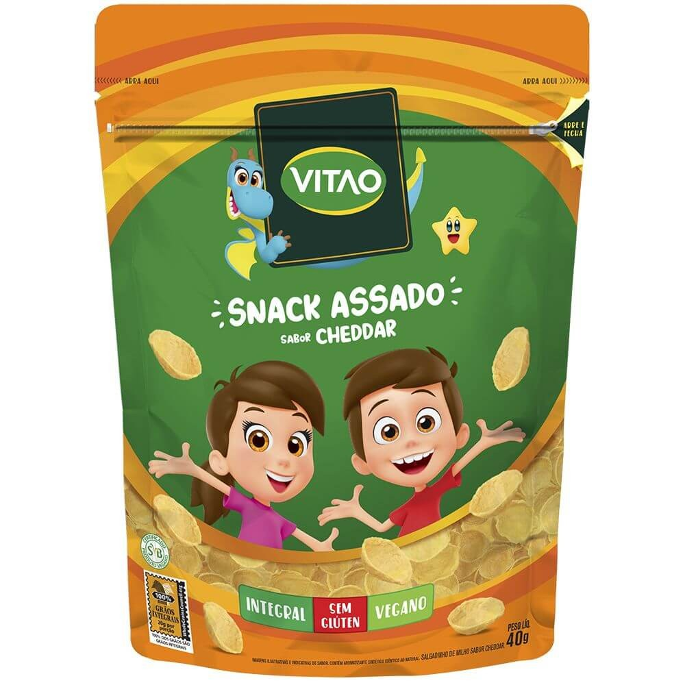 Salgadinho Integral Sem Glúten Vegano Cheddar Vitao Kids 40g