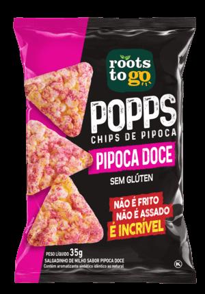 Popps Chips de Pipoca Doce Sem Glúten Roots To Go 35g
