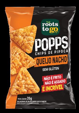Popps Chips de Pipoca Sem Glúten Queijo Nacho Roots To Go 35g