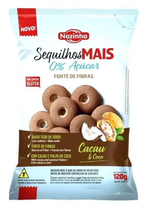 Biscoito Zero Açúcar Cacau e Coco Sequilhos Mais Nazinha 120g