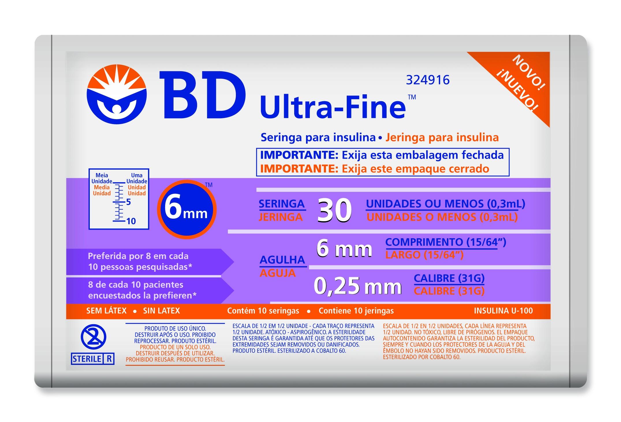 Seringa BD Ultra-Fine 30 UI com Agulha de 6mm 10 Unidades