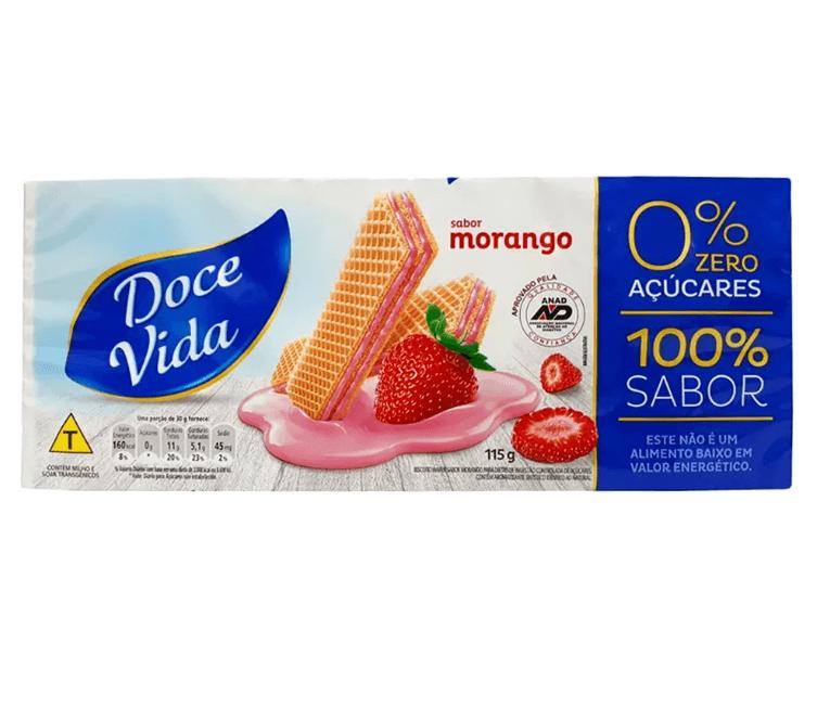 Wafer Diet Morango Doce Vida 115g