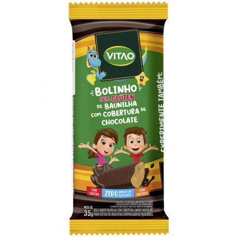 Bolinho Zero Adição de Açúcar Baunilha Cobertura de Chocolate Vitao Kids 35g