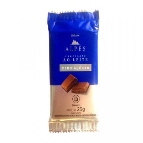 Chocolate ao Leite Zero Açúcar Alpes Salware 25g - Validade: 14/10/2021