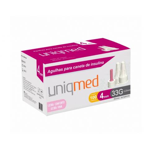 Agulhas para caneta de insulina Uniqmed 4mm Ultra Fina Caixa com 100 unidades
