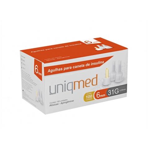 Agulhas para caneta de insulina Uniqmed 6mm Caixa com 100 unidades