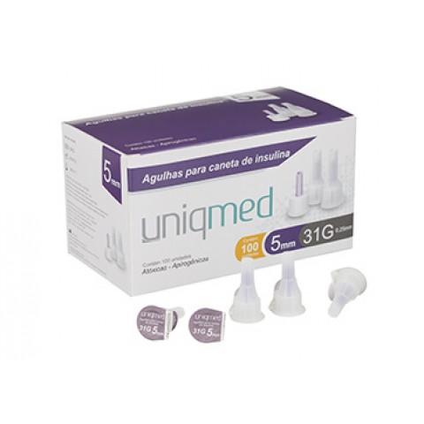 Agulhas para caneta de insulina Uniqmed 5mm Caixa com 100 unidades
