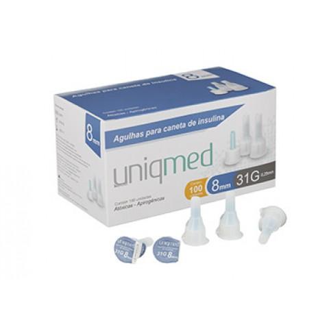 Agulhas para caneta de insulina Uniqmed 8mm Caixa com 100 unidades