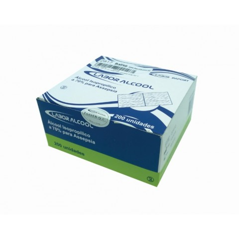 Álcool Labor Almofadas para Assepsia c/200 unidades