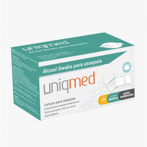 Álcool Swabs para Assepsia Uniqmed 100 Unidades