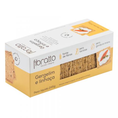 Biscoito Integral Sem Açúcar Gergelim e Linhaça Fibratto 245g