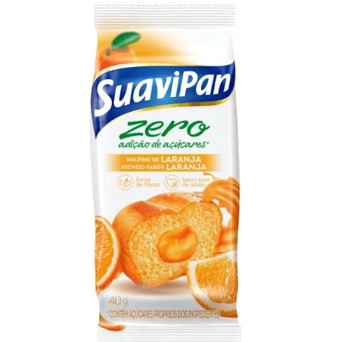 Bolinho Zero Adição de Açúcar Laranja Recheado com Laranja Suavipan 40g