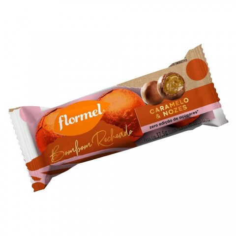 Bombom Recheado Zero Adição de Açúcar Chocolate ao Leite Caramelo Nozes Flormel 37,5g