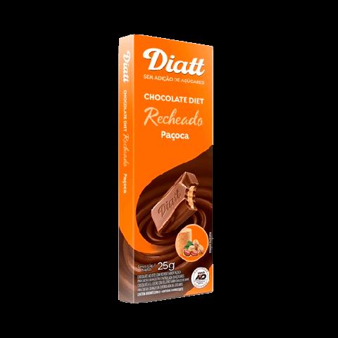 Chocolate Recheado Sem Adição de Açúcar Ao Leite com Paçoca Diatt 25g