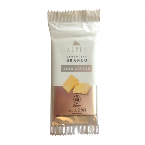 Chocolate Branco Zero Açúcar Alpes Salware 25g