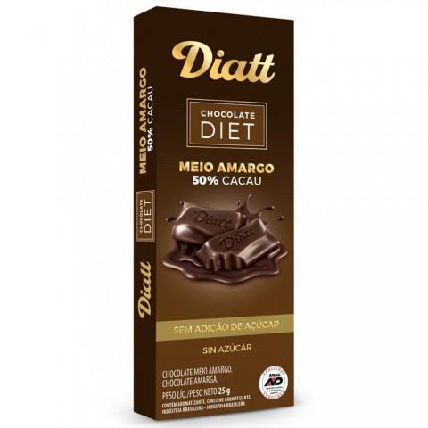 Chocolate Sem Adição de Açúcar 50% cacau Meio Amargo Diatt 25g