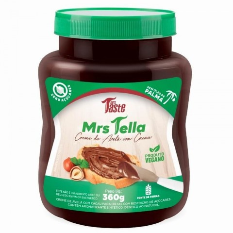 Creme de Avelã com Cacau Zero Açúcar Vegano Mrs Tella 360g