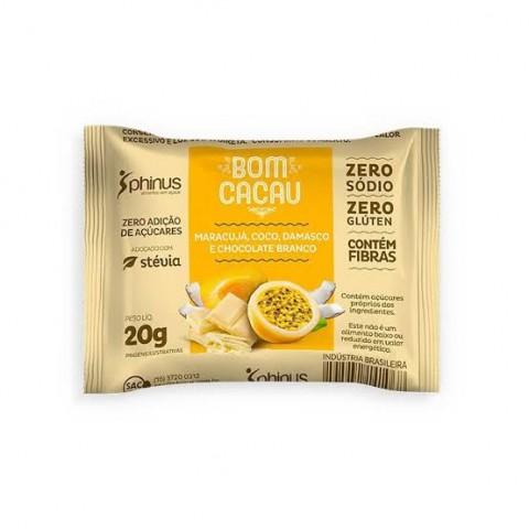 Doce Zero Adição de Açúcar Frutas com Chocolate Branco Bom Cacau Phinus 20g
