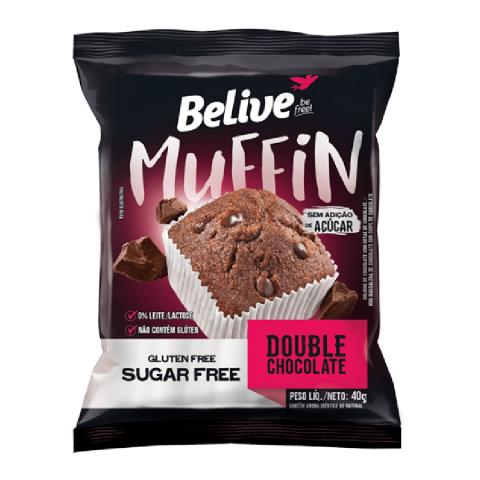 Muffin Sem Adição de Açúcar Chocolate com Gotas de Chocolate Belive 40g