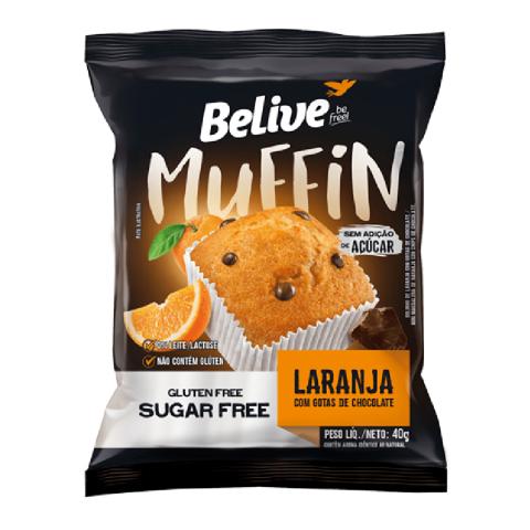 Muffin Sem Adição de Açúcar Laranja com Gotas de Chocolate Belive 40g