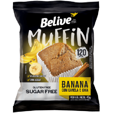 Muffin Zero Açúcar Banana com Canela e Chia Belive 40g